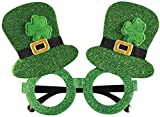 St. Patrick's Day Glasses,Shamrock Glasses,Patrick Party Costume Clover Glasses,Green Irish Accessories for Women and Men Leprechaun Party Supplies,Photo Props Costume Accessories,Costume Favors