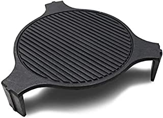 """18"""" Cast Iron Plate Setter for Large Big Green Egg Accessories or Other Caramic Grill ConvEGGtor for BGE Accessories 3Legs Grooved Plate Setter for Indirect Cooking BBQ Smoker Accessories"""