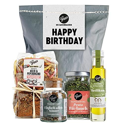 Happy Birthday Geschenkset - Gepp's Feinkost I Überraschungstüte gefüllt mit handgemachter Pasta, Pesto-Bärlauch Gewürz, Bio Fleisch-Gewürz & Walnussöl I Gourmet Geschenk-Set (A0045)