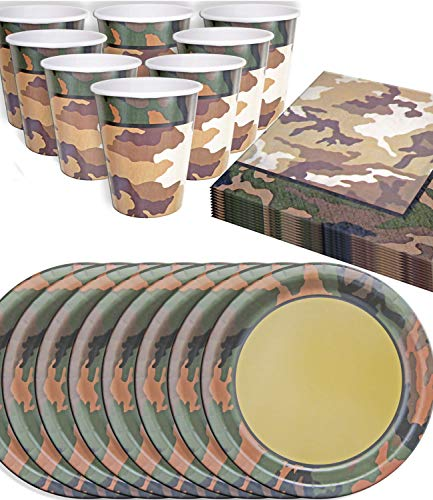 HomeTools.eu® - Camouflage Party-Geschirr Set, Army, Tarnfleck, Papp-Teller, Papp-Becher, Servietten, 8 Personen, 32-Teilig