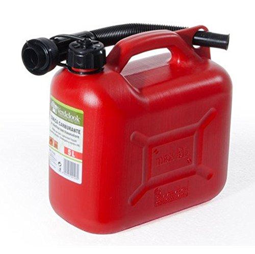 Verdelook Jerrican en plastique pour carburant essence avec tuba 5 Lt Rouge
