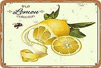 レモンヴィンテージスタイルメタルサインアイアン絵画屋内 & 屋外ホームバーコーヒーキッチン壁の装飾 8 × 12 インチ