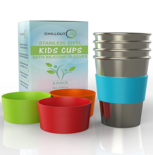 Stainless Steel Cups for Kids and Toddlers 8 oz. with...