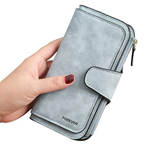 Gran Capacidad Cartera de Cuero de Mujer, Bloqueo RFID Monedero de Piel para Señora, Larga Billetera de Mujer con Bolsillo de Cremallera y Correas de Muñeca (Azul)