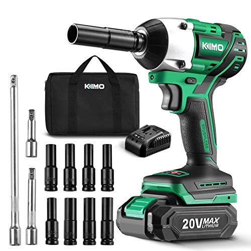 KIMO 20V 1/2 Impact Wrench, Cordless Brushless Impact Wrench Set 250 Ft-lb High Torque 3000 RPM, Li-ion Battery Fast Charger 8 Sockets 3 Extension Bars, Compact Electric Battery Wrench for Car Home