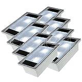 Solar Pflasterstein Solarstein 10x20cm trittfest weiße LED im 8er Set