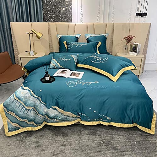 juego de funda nórdica negro,Kit de seda de lavado de agua de cuatro piezas de algodón, algodón abajo, conjunto de ropa de cama individual de cama individual regalos-mi_1,8 m de cama (4 piezas)
