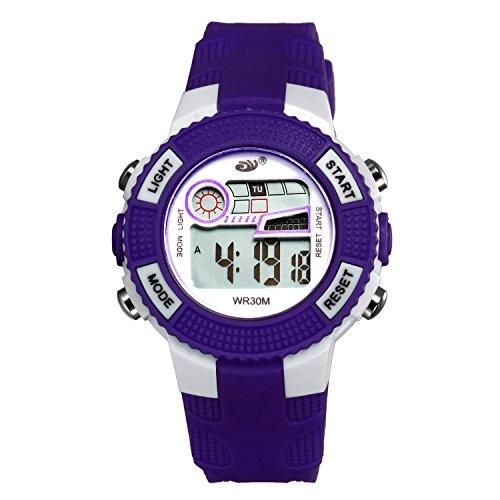 Kinder Digital Sportuhren, LANCARDO Jungen wasserdichte Sportuhr mit Wecker Stoppuhr, LED Armbanduhr mit Chronograph, Wecker für Kinder dunkel blau