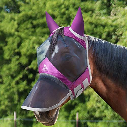 Harrison Howard Mascarilla de nariz larga con orejas de malla de forro polar acolchado con protección UV para caballo (morado regal)