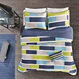 MI ZONE Bradley Reversible Soft Brushed Microfiber Patchwork Quilt Coverlet Bedspread Bedding Set, Twin/Twin XL, Blue/Lime Green