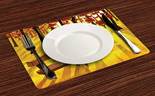 Forest Placemats for Dining Table, Cartoon Lonely Bench in Autumnal Park with Seasonal Abstract Growth, Anti-Skid Heat Resistant Place Mat Decor for Kitchen Dinner Party, Set of 6, Burnt Sienna Yellow