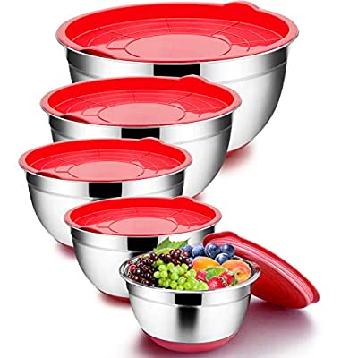 TeamFar Mixing Bowls with Lids Set, 8/5 / 3/2.5/1.5 QT, Stainless Steel Large Red Nesting Metal Salad Mixing Bowl Set of 5, Healthy & Easy Clean, Airtight Lid & Non-slip Bottom