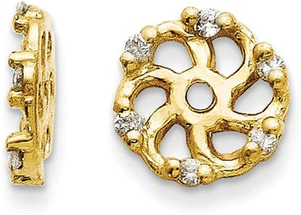 Solid 14k Yellow Gold Diamond Earring Jacket - 7mm x 8mm (.048 cttw.)