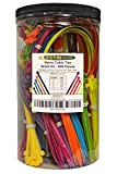 Electriduct Nylon Cable Tie Kit - 650 Zip Ties - Multi Color (Blue, Red, Green, Yellow, Fuchsia, Orange, Gray, Purple) - Assorted Lengths 4', 6', 8', 11'