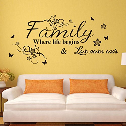 Beautyjourney Chaud! Art Famille Belle Fleur Wall Stickers Home Mots Decor Wall Sticker Stickers Muraux Chambre Adulte (A)