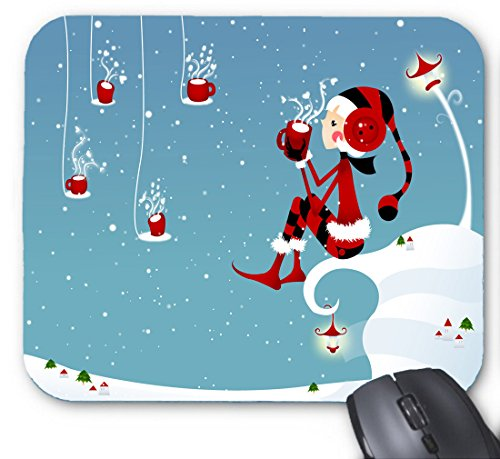 Gaming Mouse Pad Cartoon White Christmas Santa Claus Red-Nosed Rreindeer and Frosty The Snowman for Desktop and Laptop 1 Pack 22x18cm/7x8.66inch