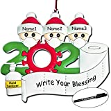 LISOPO Personalized Name Christmas Ornament Kit with 1 Marker Pen, 2020 Survivor Family Christmas Decorations 1-4 Family Members, Christmas Tree Hanging Home Decorations, DIY Creative Gift for
