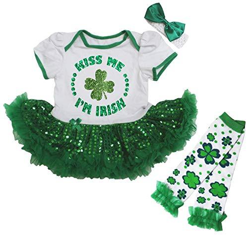Petitebelle Kiss Me I'm Irish Trèfle Robe de bébé Nb-18 m - Vert - M
