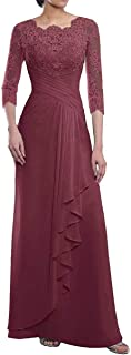 Women's 3/4 Sleeves Mother of The Bride Dress Lace Chiffon Sheath Floor Length Formal Evening Gowns