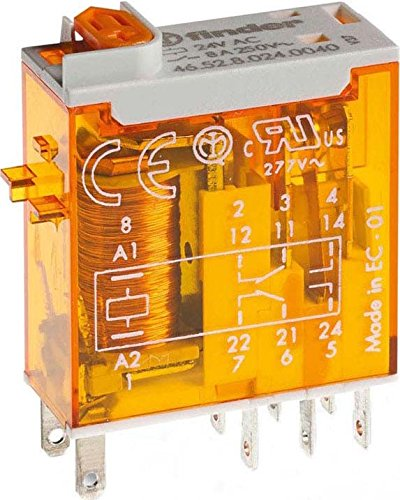 25 x 05 mm - 230 V con pulsador de prueba e indicador mec/ánico29 x 13 x 33 cm AgNi 50//60 Hz Mini-rel/é industrial enchufable 2 contactos 8 A Finder 465282300040 transparente color naranja CA