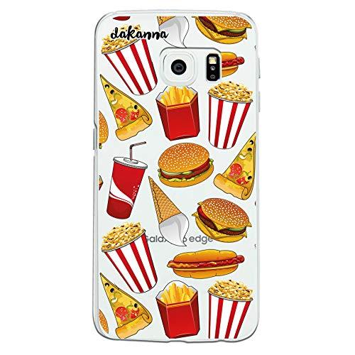 dakanna Custodia per Samsung Galaxy S6 Edge | Hamburger, ristoro, Pizza e Popcorn | Cover in Gel di Silicone TPU Morbido di Alta qualità con Sfondo Trasparente