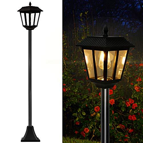 MAGGIFT 67 Inch Solar Lamp Post Lights, 100 Lumen Solar Powered Vintage Street Lights Outdoor, Warm...