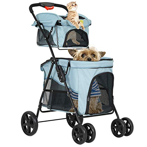 VIAGDO Double Dog Stroller for Small Medium Dogs & Cats, 4 Wheels Cat Stroller for 2 Large Cats, Dog Jogging Stroller with 2 Detachable Carrier/One-Hand Folding/Suspension System Pet Gear(Light Blue)