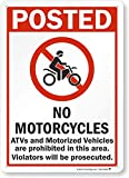 SmartSign-S-8818-Pl-14 'Posted - No Motorcycles, ATVs And Motorized Vehicles' Sign   10' x 14' Plastic , Black/Red on White