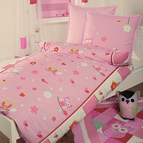 4uniq Bettwäsche Bettbezug Kopfkissen Eule Kinder Mädchen Baumwolle Patchwork Optik