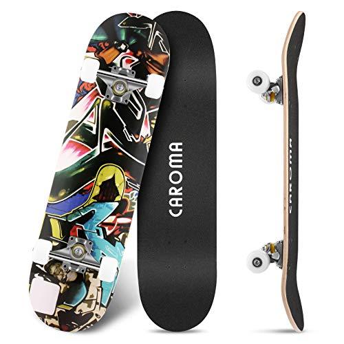 Skateboard para Principiante,79cm×20cm Completo Patineta,9 Capa Monopatín Madera Arce Tabla Double Kick Concave Standard Trick Cruiser Skateboards,para Niña Niño Adulto Adolescentes