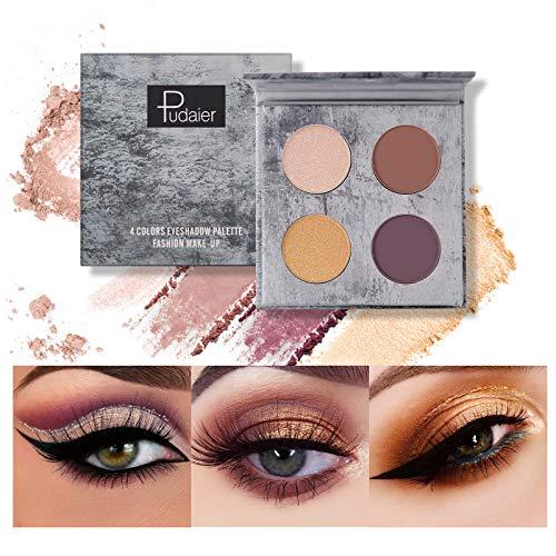 Mimore Paleta de sombras de ojos Profesional 4 colores Sombra de ojos Paleta de maquillaje mate Polvo colorido altamente pigmentado Sombra de ojos impermeable de larga duración (04)