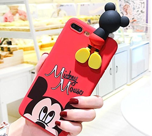 Red Mickey Mouse with Doll Case for Apple iPhone 7+ 7Plus 8+ 8Plus Large Size 5.5 Screen Soft TPU Gel 3D Cartoon Slim Shockproof Protective Cool Fun Lovely Cute Fashion Hot Gift Girls Teens Kids Boys