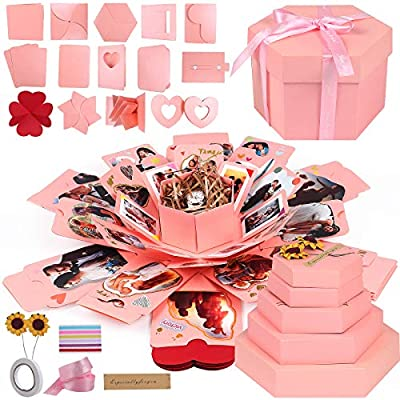 RECUTMS Explosion Box DIY Scrapbooking Set Handmade Photo Album,Gift Box with 6 Faces Wedding Memory Book (Pink-6 Sides)