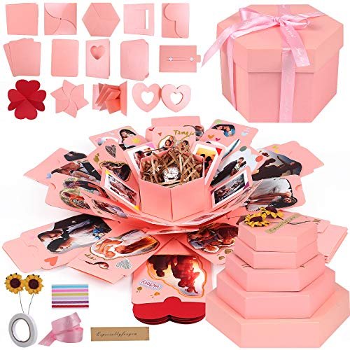 サプライズボックスかわいいピンクボックスクリスマスギフト爆発ボックスDIY手作りボックス彼女彼氏誕生日記念日ギフトロマンチック ラブメモリ贈り物 愛の記念フォトアルバム (ピンク)
