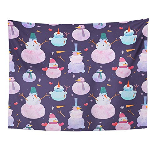 ShiHaiYunBai Tapices Decorativos Tapestry Wall Hanging Blue Ball Year Christmas Snowmen Watercolor Bell 60