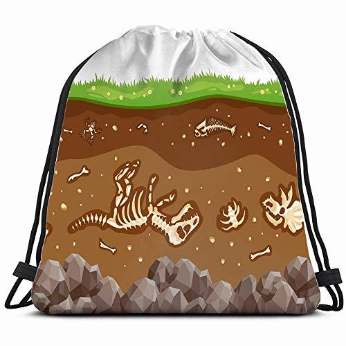 Ossa Orizzonti-ondergrond Natura Fossile tas met trekkoord rugzak met flip omkeerbare rugzak met pailletten bling voor wandelen, reistas, strandtas, 14 x 17 inch