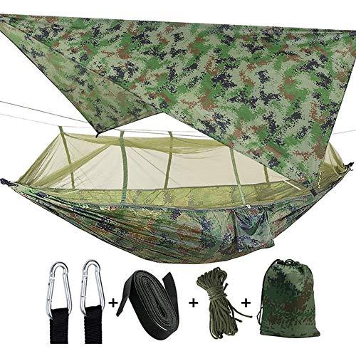 LITI Camping Hängematte Outdoor mit Moskitonetz und Wasserdicht Plane Ultra-Licht Atmungsaktiv, Schnell Trocknende Fallschirm Nylon Camping Hängematte Field Survival Set,A