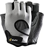 Glofit Freedom Workout Gloves, Knuckle Weight Lifting Shorty Fingerless Gloves with Curved Open Back, for Powerlifting, Gym Women and Men(Grey, Large)