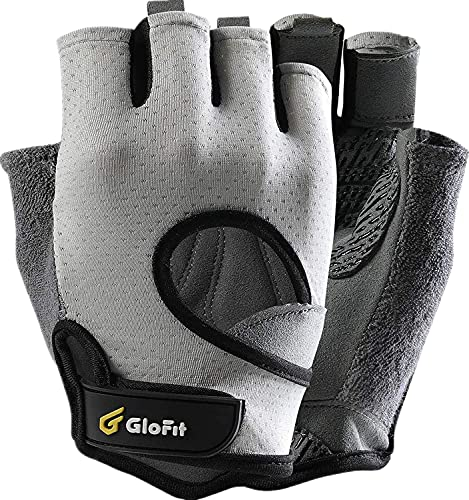 Glofit Freedom Workout Gloves, Knuckle Weight Lifting Shorty Fingerless Gloves with Curved Open Back, for Powerlifting, Gym, Women and Men(Grey,...