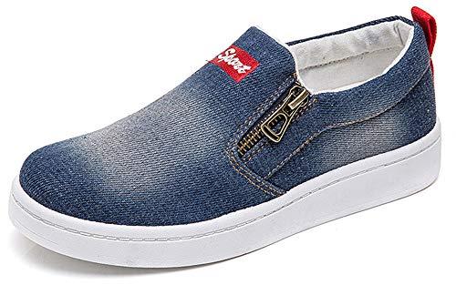 XIANV Women Denim Jeans Sneaker Classic Low Top Canvas Casual Shoes Slip-on Loafers (7 M US, Dark Blue)