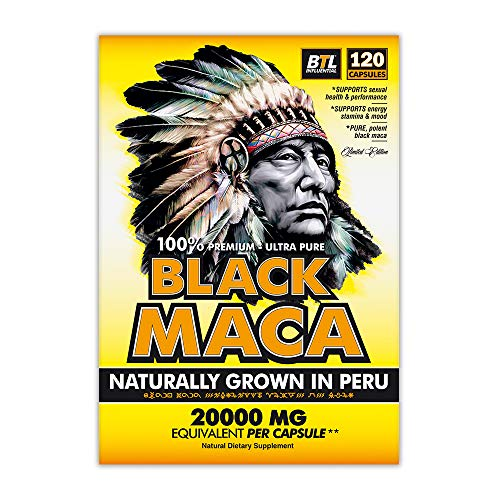 Black Peruvian Maka Root Extract Equivalent to 20,000mg per Capsule Support Energy Stamina & Mood for Men and Women Organic and Ultra Pure