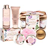 Bath and Body Gift Basket For Women – Cherry Blossom Home Spa Set – Includes Fragrant Lotions, Shower Gel, Extra Large Bath Bomb, Body Butter, Body Scrub, Bath Crystal, Puff & Rose Gold Cosmetic Bag