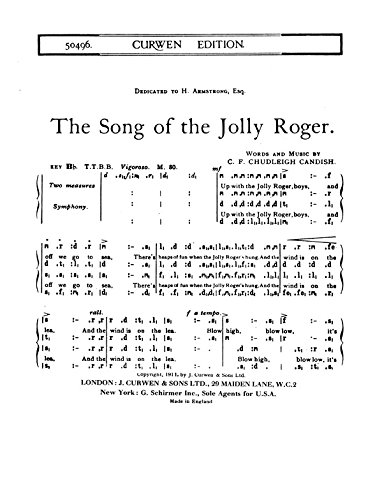 Candish C.F. Chudleigh: The Song Of The Jolly Roger (TTBB Tonic suelo Fa-). Partituras para voz masculinos
