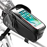 WOTOW Bike Frame Phone Bag, Water Resistant Bicycle Front Tube Pouch Touch Screen Window Bag with Cards Holder Reflective Storage Pack Fits for Iphone7 8 Plus/XR/XS Samsung BlackBerry Up to 6.6'