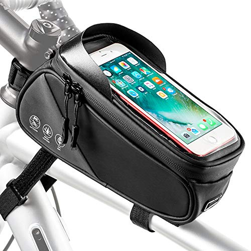 Nasjac Bike Frame Bag, Borsa Impermeabile per Tubo Anteriore per Bicicletta con Porta Carte, Finestra Touch Screen e Custodia a Strisce Riflettenti Adatta