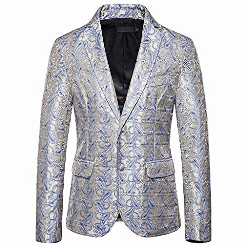 KPILP Herren Anzug Sakkos Slim Fit Jacquard Anzug Mantel Blazer Blumen Muster Jacke Männer Smokingjacke Freizeit Anzugjacke mit Zwei Knopf für Hochzeit und Party Business