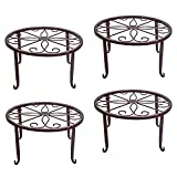 4 Pack Metal Plant Stands Indoor Outdoor Plant Shelf, Retro Flower Pot Stand for Balcony Porch Farmhouse Garden Patio Yard (9 x 9 x 5 inches)