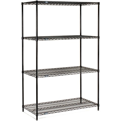 """Nexel Adjustable Wire Shelving Unit, 4 Tier, NSF Listed Commercial Storage Rack, 18"""" x 60"""" x 63"""", Black Epoxy"""