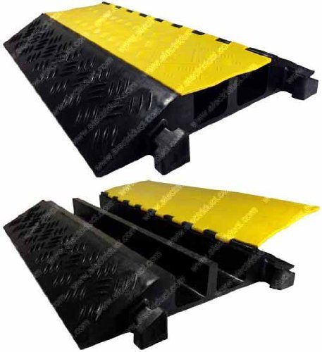 Electriduct 2 Channel Extreme Rubber Cable Protector 3' Diameter Ramp Black Base/Yellow Lid