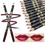 Lip Liner 12Pcs, Professional Matte Waterproof Lip Pencil Long lasting, Easy To Colour, Rich Moistur...